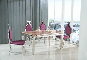 Marble Dining Table With Stainless Steel Chrome Base 150CM With 4 chairs