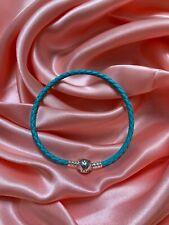 Genuine Sterling Silver PANDORA Turquoise SingleWrap LEATHER BRACELET 19CM+pouch