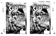 Jim Lee Superman #210 Cover Two-Up Rare Large Production Art Monotone