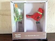 Thirty Fourth & Main Spreader Set: Christmas Tree, Cardinal Ceramic/SS NEW NIB