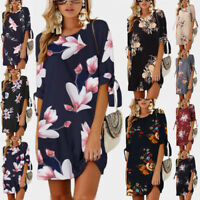 Women Summer Boho Short Mini Maxi Evening Party Beach Dress Floral Sundress -5XL