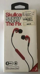 Skullcandy Fix Supreme Sound Hi-Definition Red and Chrome Earbuds NEW