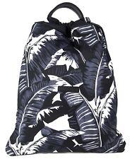 Dolce & Gabbana Palm Print Drawstring Backpack Bag Navy / Black