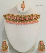 Indian bollywood gold  Choker Necklace Earrings Tikka set Jewellery women new