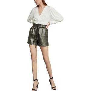 BCBGMAXAZRIA Womens Metallic Paperbag Pleated Dress Shorts BHFO 7699