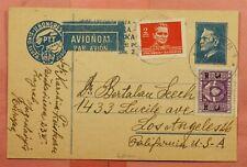 DR WHO 1949 YUGOSLAVIA UPRATED POSTAL CARD ZAGREB AIRMAIL TO USA  158628