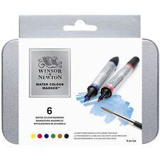 Winsor & Newton Artist Watercolour Twin-Tip Marker Pen Set - 6 Colour Tin