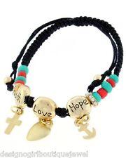 Hope Love Faith Bracelet Shamballa Bead Coral Turquoise Charm Black Rope Cord