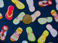 NAVY WITH A DESIGN OF PATTERNED FLIP FLOPS 100% COTTON FABRIC FQ'S