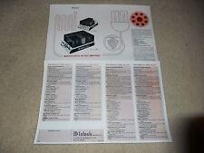 McIntosh MC 2100, MC 250, MC 100, MC 50 1975 Amplifier Brochure, Specs, Articles