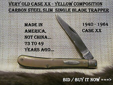 VERY OLD 1940-1949 Case XX Yellow Slim Trapper - SINGLE BLADE 73 TO 65 YEARS OLD