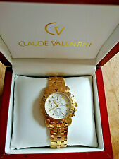 CLAUDE VALENTINI 18K GOLD ELECTROPLATED MILLENIUM SPORTS WATCH MODEL M231044JR