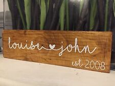 Personalised Names Wooden Plaque Love Wedding Anniversary Valentine Gift