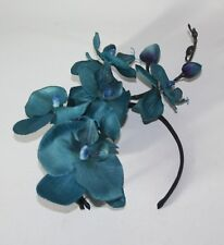Large Teal Orchid Flower Black Headband - Fascinator - Wedding, Races, Party.