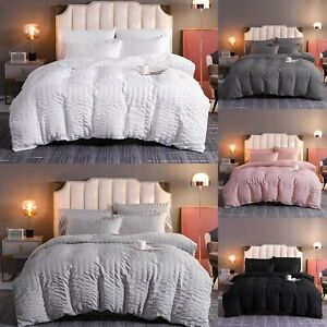 Luxury Quilt Cover Bedding Set Seercucker Duvet 100% Egyption Cotton All Sizes