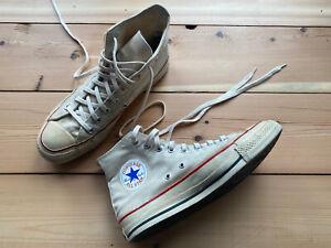 Vintage Converse All Star 80s Made in USA Extra Stitch Sz 8 White/Ecru