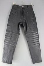 JTS BLACK LEATHER BIKER TROUSERS SIZE 12 - WAIST 28 INCHES/INSIDE LEG 28 INCHES