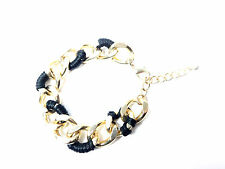 Contrast Unique Stunning Summer (Cl5) Ladies Chunky Black Gold Chain Bracelet