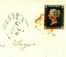 GB PENNY BLACK Cover 1840 *Upton-on-Severn* 1d Plate 3 (PG) Worcester MX 768c