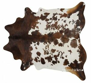 Tricolor Brazilian Cowhide Rug Cow Hide Area Rugs Leather Size XXL