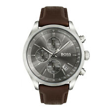 Hugo Boss Mens Brown Leather Grand Prix Chronograph Watch HB1513476