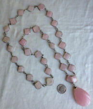 Necklace Rose Quartz Stones Teardrop Pendant Silver-Tone Metal 34""