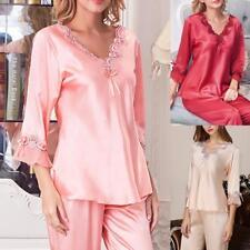 Womens Lace Silk Pajamas Pyjamas Satin Sleepwear Long Sleeve Nightgown Homewear