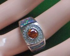 SIZE 8 FIRE ORANGE TOPAZ, FIRE OPAL SOLID 925 SILVER RING, ONE OF MY BEST PIECES