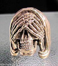 See No Evil Polished BRONZE Death Skull biker Ring   RG0051/B