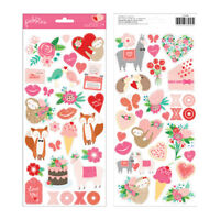 Pebbles Loves Me Collection Cardstock Stickers with Glitter Accents Icons 733948