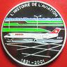 2003 BENIN 1000 FRANCS SILVER PROOF MULTICOLOR FOKKER 100 JET AIRLINER AVIATION