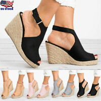 US Womens Ankle Strap Peep Toe Sandals Summer Platform Wedge Shoes Size 5-8.5