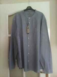 BNWT MEN'S CHAMBRAY  PURE COTTON COLLARLESS SHIRT BY MARKS & SPENCER SIZE XXXL