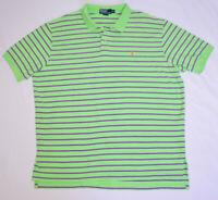Polo By Ralph Lauren Green Purple Striped Short Sleeve Shirt 2XL XXL