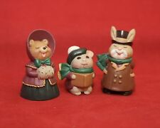 Hallmark Merry Miniatures Christmas 1995 Caroling Bear, Bunny & Mouse QFM8307
