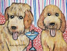 Goldendoodle drinking a Martini Art Print 5 x 7 Dog Collectible by Artist Ksams