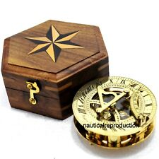Nautical SUNDIAL Compass 3 Inch Collectible Maritime Solid Brass With Wooden Box