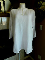 Eileen Fisher Tunic White Cotton Voile Box Split Neck Top XXS L S M