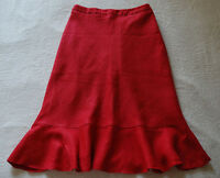 Laura Ashley Red Lined Linen A line Wide Ruffle Frill Bottom Skirt size 8 UK