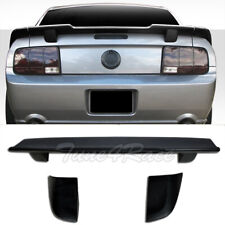 For 05-09 Ford Mustang Unpainted Black 3 Pcs Rear Wing Spoiler R Style Trunk Lip