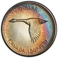 1967 CANADA GOOSE SILVER DOLLAR PCGS PL65 MONSTER BLUE COLOR UNC TONED (DR)