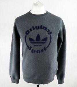Mens ADIDAS Sport CREW SWEATSHIRT Size SMALL Track Pullover Sweater Top Grey