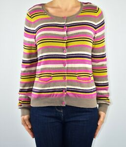 Phase Eight Striped Beige Cardigan Jumper Autumn Spring Cotton Wool Size 12 AI