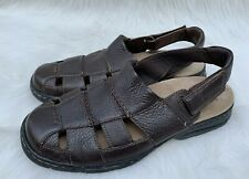 Men's Dunham 'Monterey' Brown Pebbled Leather Fisherman Sandals Sz 9.5