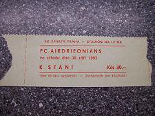 TICKET AC SPARTA PRAHA - FC AIRDRIEONIANS 1992/93 C2
