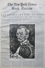 VINCENT VAN GOGH LETTERS TO THEO - IRVING STONE 1937 May 30 NY Times Book Review