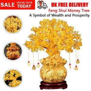 Feng Shui Citrine Quartz Crystal Money Tree Bonsai Style Luck Wealth Decoration