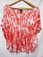 BIT & BRIDLE Top shirt blouse XL 16/18 Bust 46 Red-Coral/white Dolman style LOOK