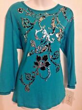 Jess and Jane Size XL Teal Black Silver 3/4 Sleeve Knit Top Shirt NWT COTTON