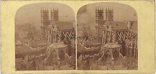 UK London Abbaye de Westminster Abbey Londres Stéréo Vintage Albumine ca 1860